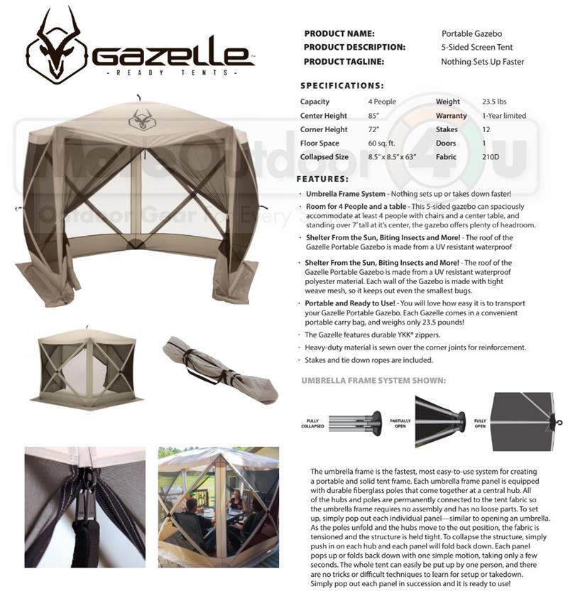 25500 g5 gazelle portable 5 sided screened gazebo canopy yard tent