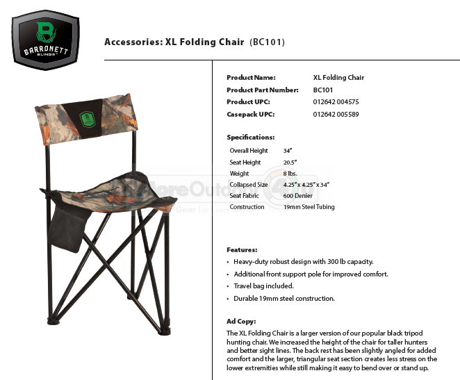 Bc101 Barronett Blinds Big Xl Folding Chair