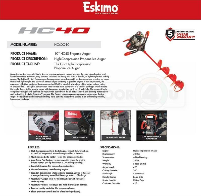 HC40Q10 New Eskimo HC40 Propane Auger With 10